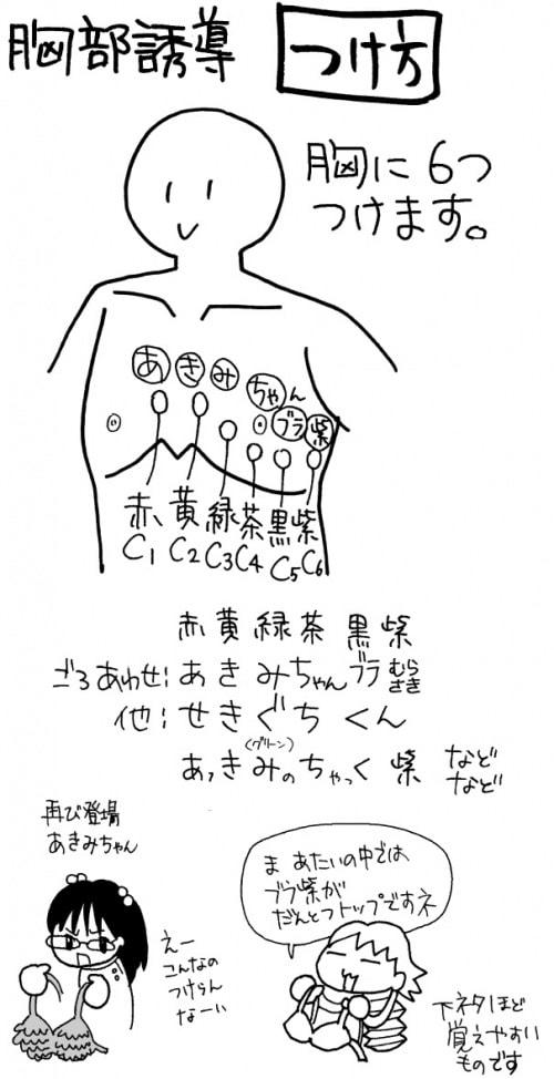 心電図計:胸部誘導の付け方