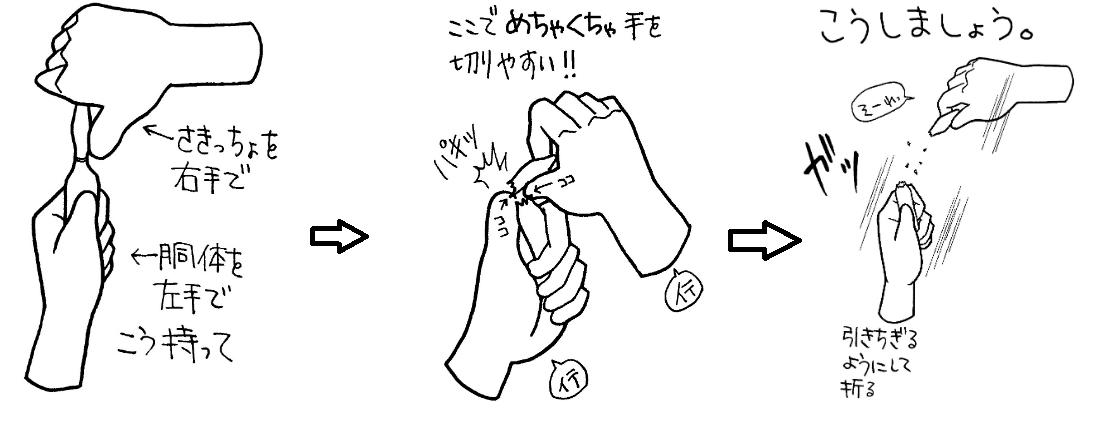 アンプル 怪我をしないための折り方
