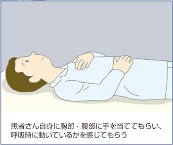 自身が胸部と腹部に手をあて呼吸時に動いているかを確認しているイラスト図