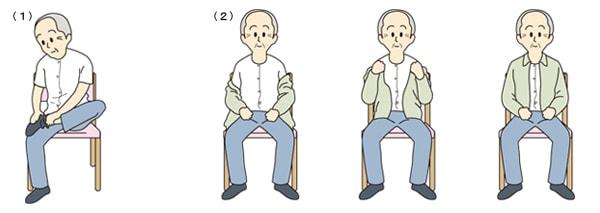 靴下の着脱動作と更衣動作(上着)