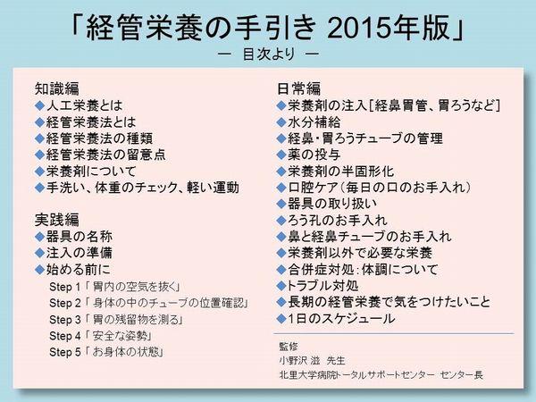 図5 経管栄養の手引き 2015年版(目次)