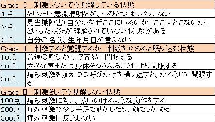 Japan Coma Scale(JCS)表