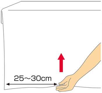 ベッドメイキング:シーツの三角折り1