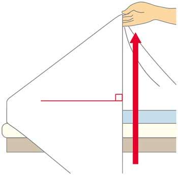 ベッドメイキング:シーツの三角折り2