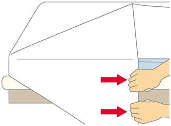 ベッドメイキング:シーツの三角折り3