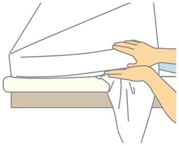 ベッドメイキング:シーツの三角折り4