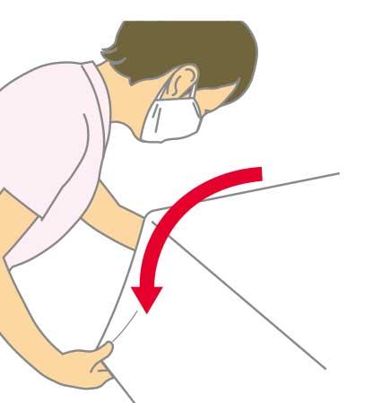 ベッドメイキング:三角シーツの作り方6