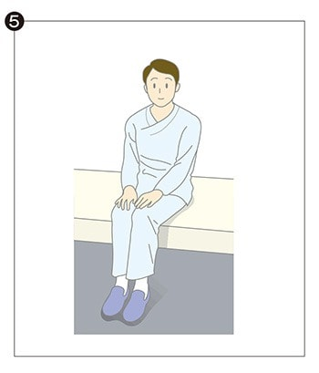 イラスト⑤:ベッド脇に座っているイラスト