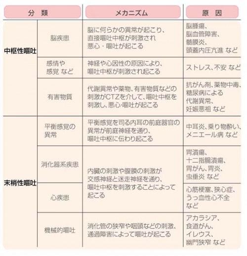 嘔吐の分類とメカニズムの表