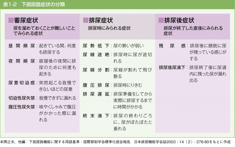 下部尿路症状の分類