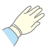手袋の中に袖を入れる