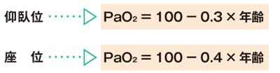 年齢に応じたPaO2の正常値の求め方