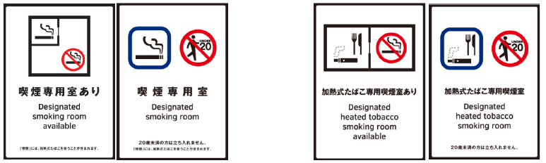 各種喫煙室に関する標識